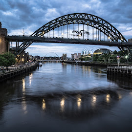 Blue Hour by Adam Lang - Buildings & Architecture Bridges & Suspended Structures ( river tyne, blue hour, gateshead, newcastle, tyne bridge )