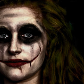 Why so serious? by Matthew Bryce - Public Holidays Halloween ( holloween, face, make up, red, joker, green, white, costume, make, up )