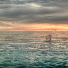 Padleboarder by Fraya Replinger - Transportation Other ( water, michigan, sunset, paddle boarder, summer, lake, paddle )