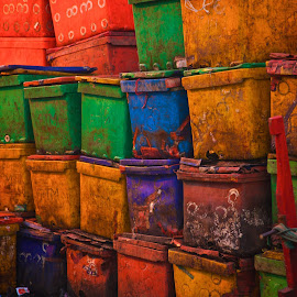 fish market storage by Mike Mulligan - City,  Street & Park  Markets & Shops ( containers, myanmar, color, fish market, daylight,  )