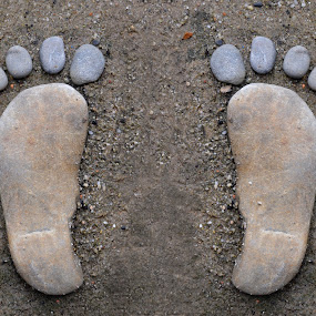 stone footprints by Elvis Hendri - Artistic Objects Other Objects ( footprints, think, nature, foot, stone, footprint, artistic object, antique )