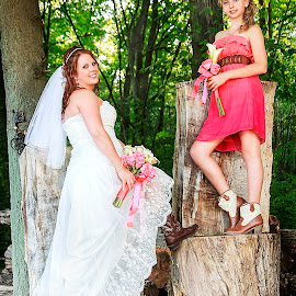 Country Girls by Sandra Hilton Wagner - Wedding Other ( orange, wedding, white, daughter, bridesmaid, gown, flowers, bride, tree trunk )