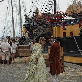 Filming in San Malo by Carol Lauderdale - People Professional People ( actors, filming, san malo, france, costumes )