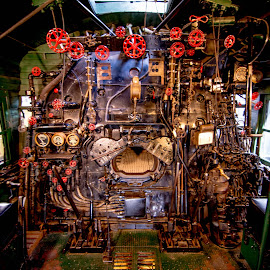 Steam Locomotive Control Room by Gary Hanson - Artistic Objects Antiques ( steam locomotive, mining, yellowstone, engine room, control room, valves )