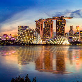 MBS by Indrawaty Arifin - City,  Street & Park  Night ( water, lights, cityscapes, reflection, buildings, singapore, nightscape )