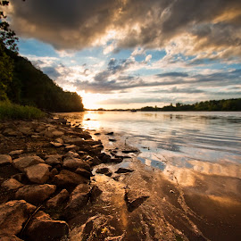 Two RIvers Light by Joel Thompson - Landscapes Waterscapes ( little rock, color, sunset, water river, arkansas river, photo, two rivers park, river,  )