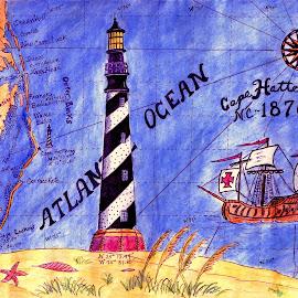 Cape Hatteras Light by Gerry Slabaugh - Drawing All Drawing ( cape hatteras light, cape hatteras, lighthouse, hatteras island, north carolina )
