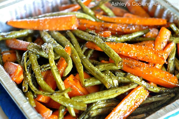Honey Balsamic Glazed Roasted Carrots and Green Beans (Gluten Free ...