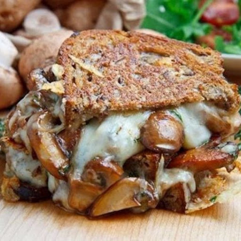 CAUTION! DELICIOUS! Sandwich grilled with mushrooms and cheese