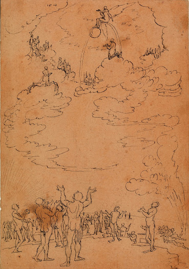 Drawing can help artists to quickly visualise an entire composition. Here <b>Wolf Huber</b> quickly sets down an idea for a <b>'Last Judgement'</b>.