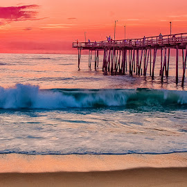 Sunrise on the OBX by Matthew Molt - Landscapes Beaches ( colorful, outer banks, pier, beach, sunrise )