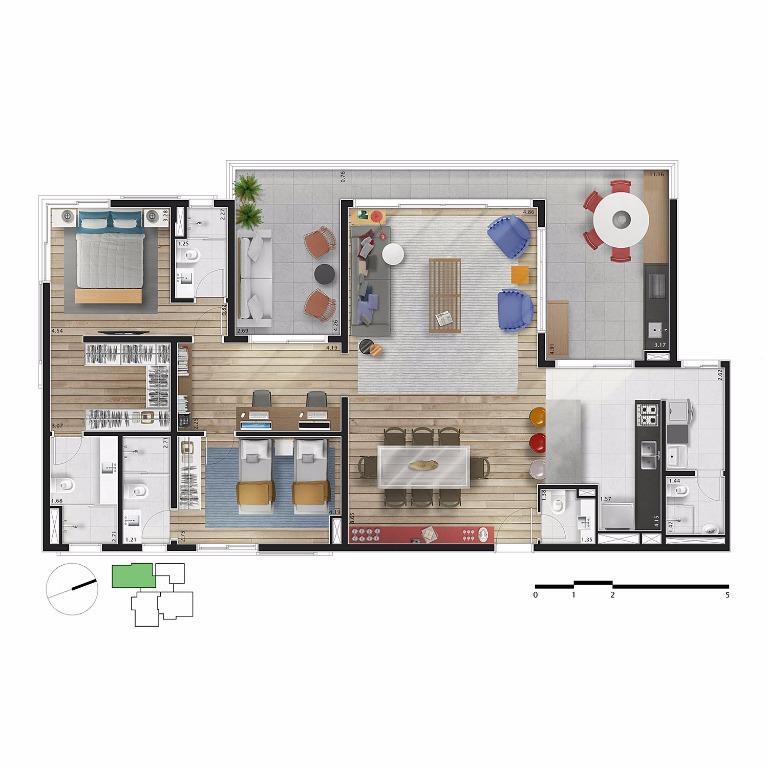 Planta Apto 11 - 171 m²