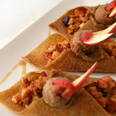 Flax Crepes with Fruit and Nut Filling topped with Maple Cream