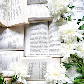 Books and flowers by Alina Dinu - Artistic Objects Still Life