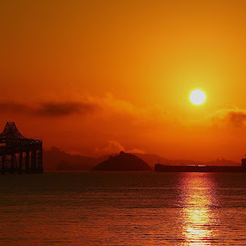 Sunrise on the San Francisco Bay by Robin Rawlings Wechsler - Landscapes Sunsets & Sunrises ( clouds, water, sky, san francisco bay, ship, seacscape, waether, architecture, bridge, sunrise, boat, landscape )