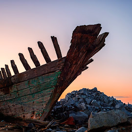 ruin by Indrawaty Arifin - Transportation Boats ( ruin, sunrise, morning, boat, rocks )