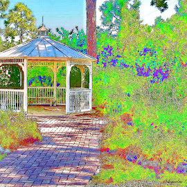 JazzBo by Jackie Sleter - Painting All Painting ( colorful, gazebo )