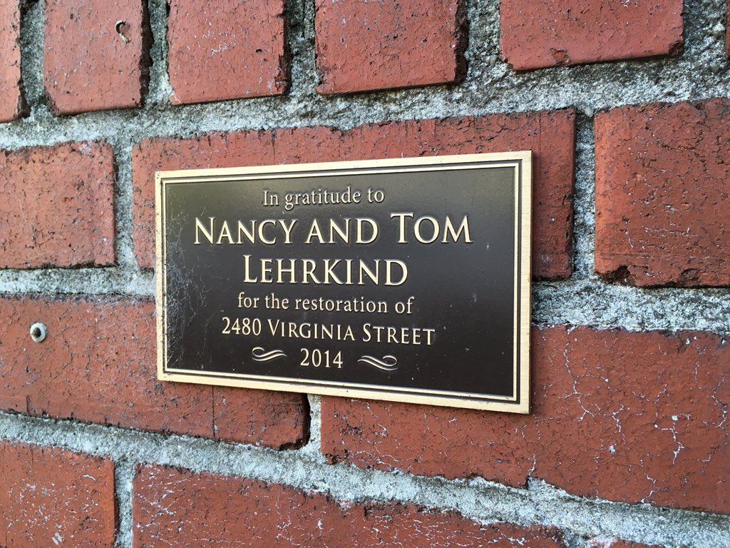 In gratitude to Nancy and TomLehrkind for the restoration of 2480 Virginia Street ~ 2014 ~  Submitted by @jqmcd