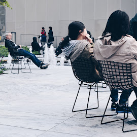 Seating by Valentina Cantera - People Street & Candids ( museum, chair, girls, hanging, seating, friends )