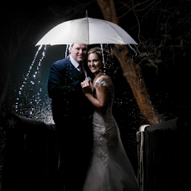 Rain by Lood Goosen (LWG Photo) - Wedding Bride & Groom ( wedding photography, wedding photographers, weddings, wedding, brides, night, bride and groom, wedding photographer, bride, rain, bride groom )