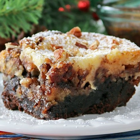 Outrageous Fudge Brownie Pecan Pie With A Cheesecake Topping