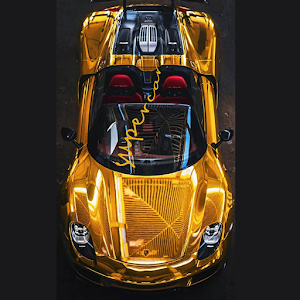 Golden Super Sports Car