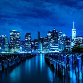 Wall Street from Brooklyn Heights by Kazuki Nakamura - City,  Street & Park  Skylines ( brooklyn bridge, skyline, manhattan, cityscape, wall street, new york, brooklyn )