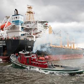 Helping Hands by Jon Dyess - Transportation Boats ( shipping, saltie, ship, lake, lake superior, boat, tug boat )