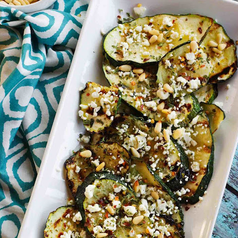 Grilled Zucchini with Feta & Pine Nuts