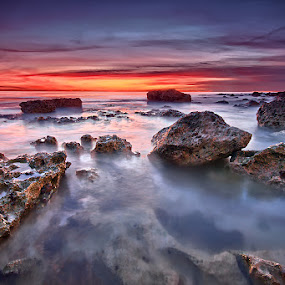 Seaford rock pool by Mark Leader - Landscapes Beaches ( seaford head, cliffs, art, canvas, south coast, dusk, print, coast, decor, wall art, chalk, wall hanging, pool, sunset, sundown, poster, south, long exposure, seaford, rockpool, rocks )