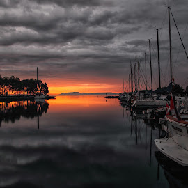 Sunrise on the Marina by Don Malcolm - Landscapes Sunsets & Sunrises ( water, clouds, sky, sailboats, sunrise )