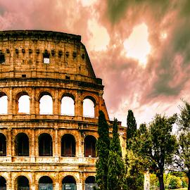 Diagonal 2 by Darin Williams - Digital Art Places ( pines, clouds, coliseum, forum, sky, rome, trees, roman, italy )