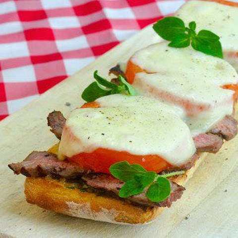 Open Face Tomato Provolone Steak Sandwich