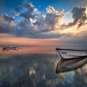 Morning Dimension by Bertoni Siswanto - Transportation Boats ( clouds, reflections, beach, transportation, sunrise, boat, landscape )