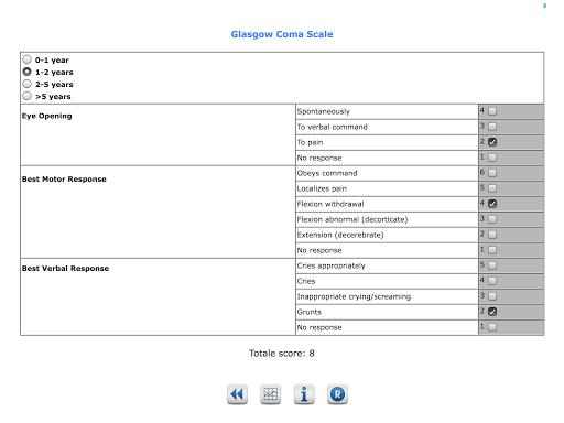 Pediatric scores - screenshot
