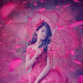 Waiting for you by Abid Syafni - Wedding Bride ( petals, bride )