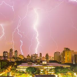 Lightning storm by Bruno Machado - City,  Street & Park  Vistas ( lightning, belo horizonte, night, storm, rain, city, city at night, street at night, park at night, nightlife, night life, nighttime in the city )