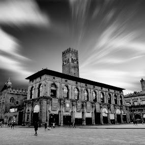 Bologna by Pieter Arnolli - Buildings & Architecture Public & Historical ( europe, bologna, white, piazza, grey, itlay, architecture, travel, black, piazza maggiore )