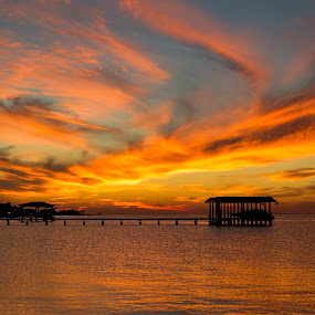 Painted Sky by Bonnie Davidson - Landscapes Sunsets & Sunrises ( water, clouds, orange, boat dock, photograph, blue, waterscape, sunset, reflections, pier, landscape,  )