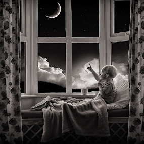 Moonlight Child by Adrian O'Neill - Babies & Children Children Candids ( clouds, child, moon, sky, window, bed, fairytale )