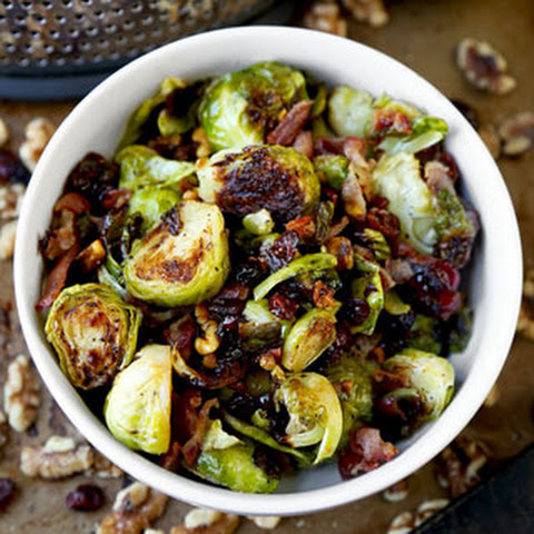 Oven roasted Brussels sprouts with bacon, cranberries and walnuts