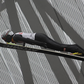 We're Off by Lynn Morley - Sports & Fitness Snow Sports ( ski, cold, pwcwintersports, snow, dark, grey, jump )
