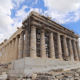 Athens by Kate Hughes - Buildings & Architecture Decaying & Abandoned ( broken, sky, rocks, old, pantheon )