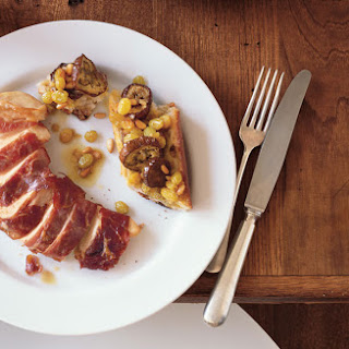 Prosciutto-Wrapped Chicken Breasts with Eggplant Panzanella and Raisin-Pine Nut Vinaigrette