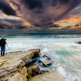 Photographer in action by George Papapostolou - Landscapes Waterscapes ( george papapostolou, hellas, sunset, aegean sea, kos island, seascape, nikon )