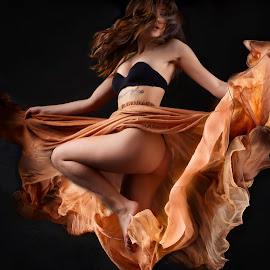 The Dance by Dennis Bater - People Musicians & Entertainers ( woman, flowing fabric, dance )