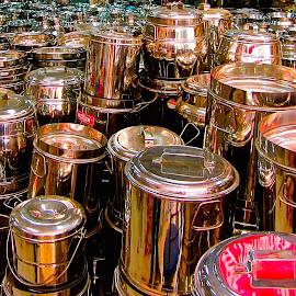 SHINY POTS by Doug Hilson - City,  Street & Park  Markets & Shops ( shop, market, shinny, reflections, india, metal cans )