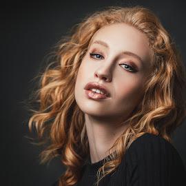 Madi by Sean Malley - People Portraits of Women ( redhead, studio, beautiful, lips, woman, beauty, sexy, model, fashion )