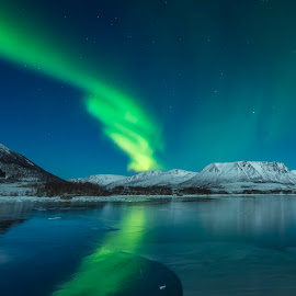 Aurora Borealis by Jens Andre Mehammer Birkeland - Landscapes Mountains & Hills ( reflection, mountain, green, aurora borealis, northern lights, star, sea, reflections, mountains, winter, stars, ice, snow, light )