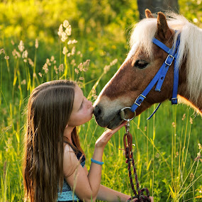 Baby kiss for you by Giselle Pierce - Babies & Children Children Candids ( miniature horse, kiss, little girl, bridle, friends, girl, grass, dress )
